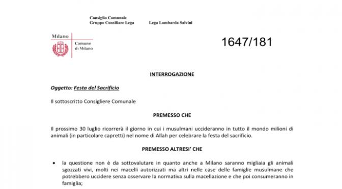 Il 30 luglio islamici sgozzeranno migliaia di animali vivi a Milano: protesta animalisti e Lega