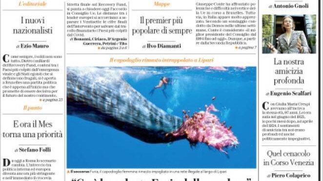 """Repubblica: """"Conte il premier più popolare di sempre, ha superato anche Monti"""""""
