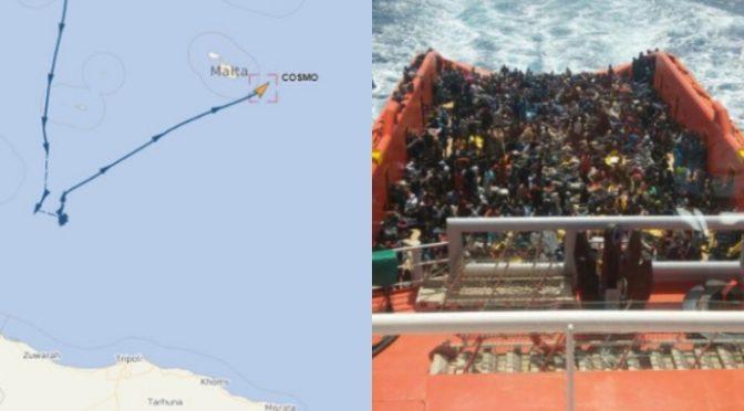 Motovedetta maltese scorta barcone a Lampedusa