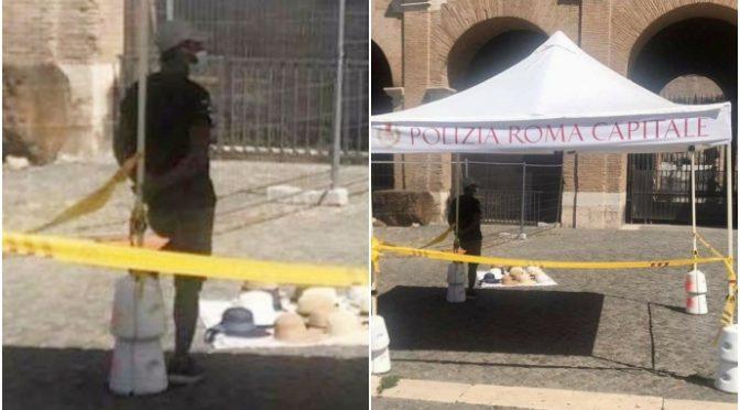 Roma, abusivo vende sotto il gazebo della Polizia Locale – FOTO