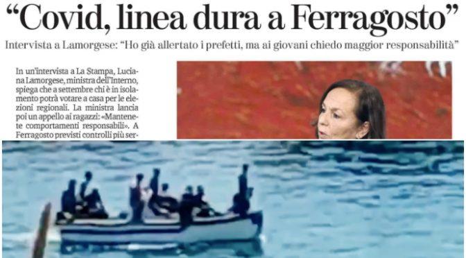 """Clandestini sbarcano infetti, Lamorgese: """"Linea dura vale per italiani"""""""