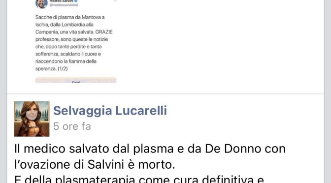 Muore nonostante plasma iperimmune: Selvaggia Lucarelli celebra sui social
