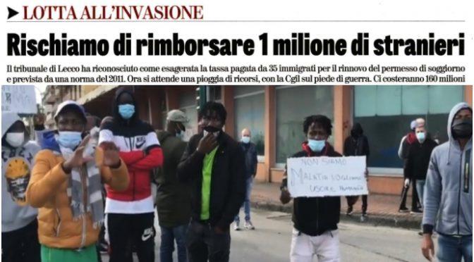 Italiani dovranno versare la paghetta ad 1 milione di immigrati: 160 milioni di euro