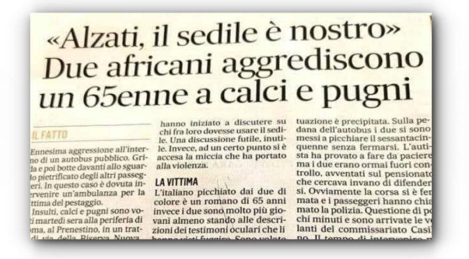 """Africani cacciano italiano dal bus: """"Il sedile è nostro"""""""