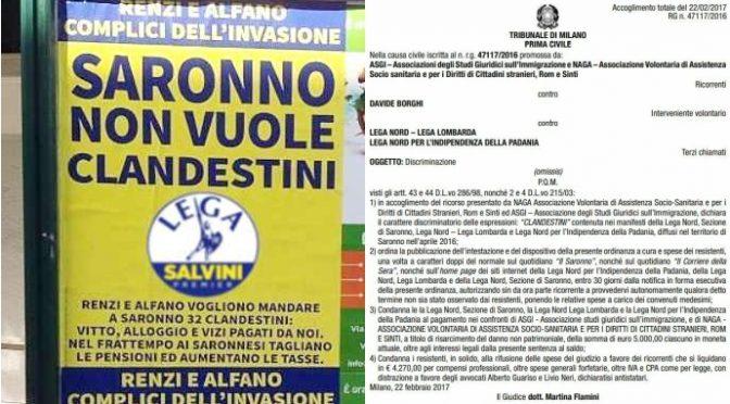 """Lega condannata a 'risarcire' 15mila euro per manifesto contro i """"clandestini"""""""