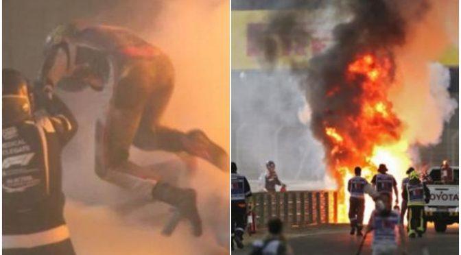 F1 Bahrain, monoposto Grosjean in fiamme: pilota salvo per miracolo