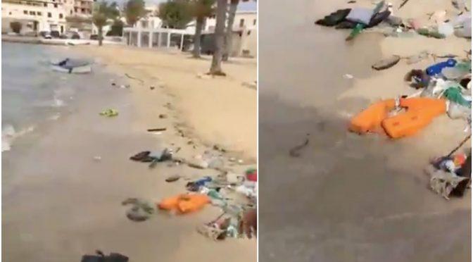 Lampedusa invasa dalla spazzatura dei clandestini – VIDEO