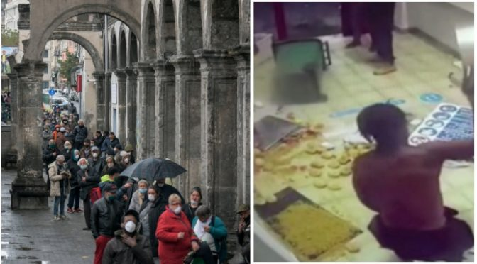 Clandestini gettano cibo Caritas mentre italiani fanno la fila per mangiare
