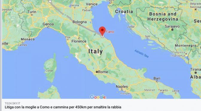 Litiga con la moglie a Como e cammina 450 km fino a Fano: multato per violazione DPCM