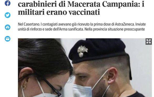 Tutti contagiati i carabinieri dopo vaccinazione con AstraZeneca