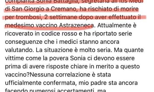 AstraZeneca, collega di Sonia Battaglia morta dopo vaccino è grave in ospedale per trombosi