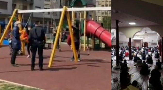 Polizia caccia bimbi da altalena mentre gli islamici si assembrano in moschea! – VIDEO
