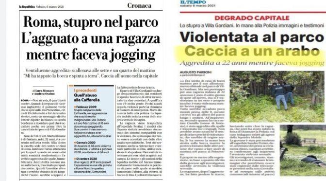 Stupro a Roma, la vittima dell'immigrato: «Afferrata alle spalle e trascinata via», giornali sinistra proteggono stupratore