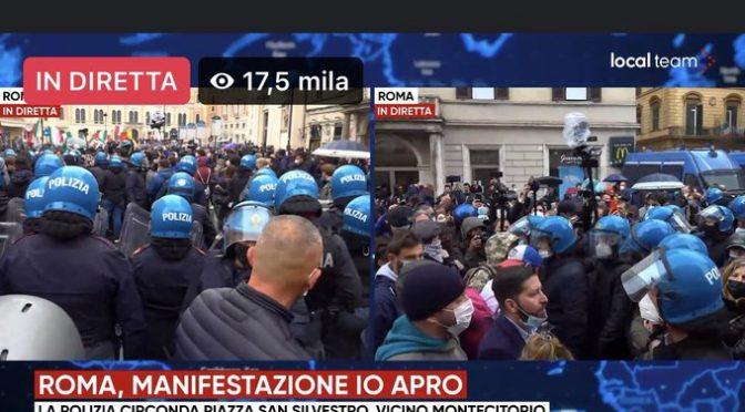 "Sgarbi: ""E' stato di polizia"", manifestanti 'ammanettati' – VIDEO"