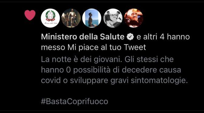 Ministero Salute confessa: coprifuoco è inutile:  'mi piace' al tweet anti-lockdown