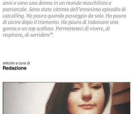 """Antonella non può uscire la sera perché ha paura dei fischi: """"E' un mondo patriarcale"""""""