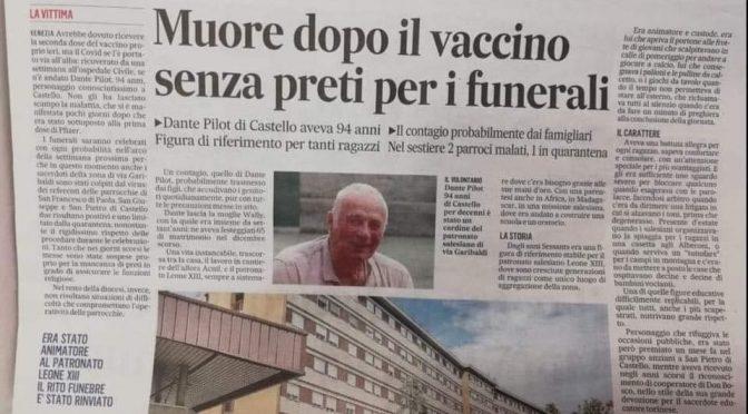 Muore dopo il vaccino: senza preti per il funerale
