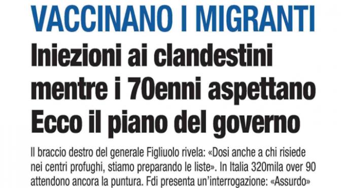 Vaccini già finiti, stop vaccinazioni in Lazio e Veneto ma Figliuolo vaccina i clandestini
