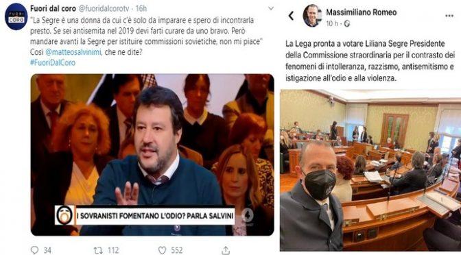 Giravolta leghista, gioiscono per la commissione sovietica della Segre: così la definì Salvini