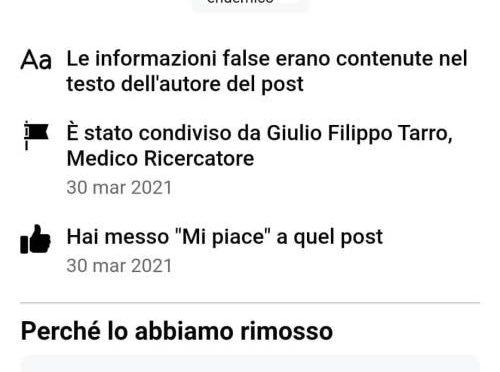 Facebook censura il virologo Tarro