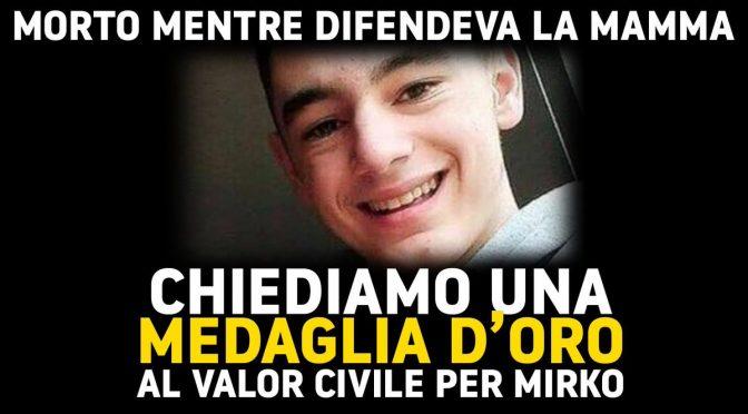 Mirko, morto per difendere la mamma dal solito immigrato: medaglia d'oro al valore civile