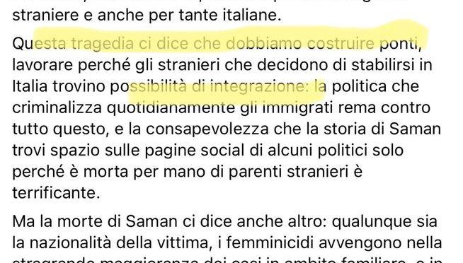 Saman uccisa dai pakistani ma per Saviano è colpa degli italiani