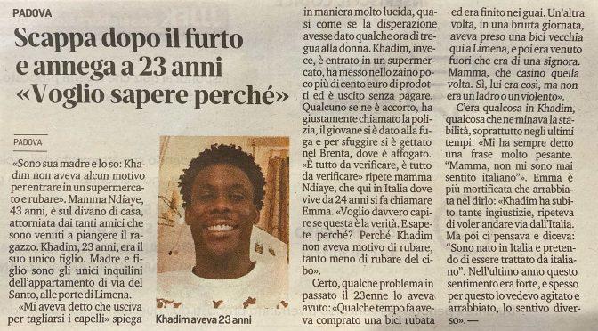 """Annega dopo il furto: """"Voglio sapere perché"""", un altro africano depresso per colpa dei razzisti"""