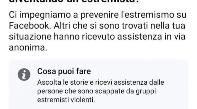 """Facebook vara il reato di 'pre-crimine': """"Temi che qualcuno che conosci stia diventando un estremista?"""""""