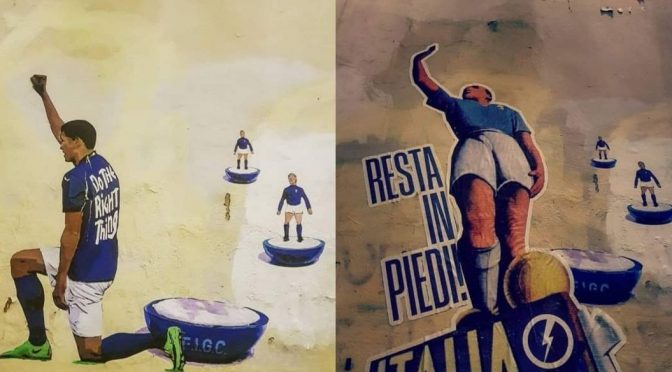 """Patrioti sostituiscono murale BLM con questo: """"Resta in piedi Italia!"""" – FOTO"""