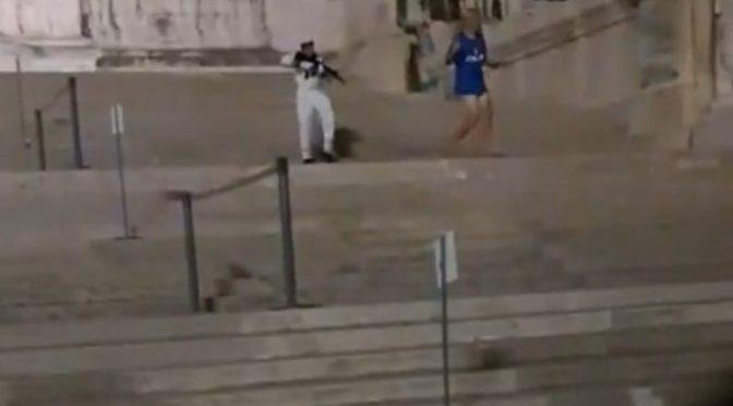 Tifoso viola Altare della Patria, militare gli punta il mitragliatore addosso: fatelo anche ai confini – VIDEO
