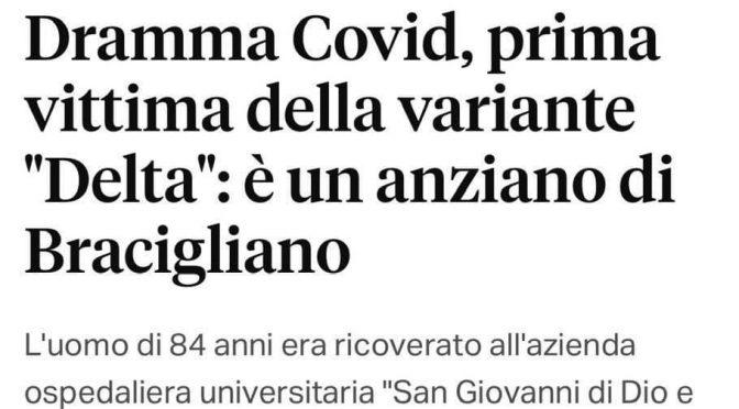 PRIMO MORTO DA VARIANTE DELTA IN ITALIA: VACCINATO CON 2 DOSI MODERNA