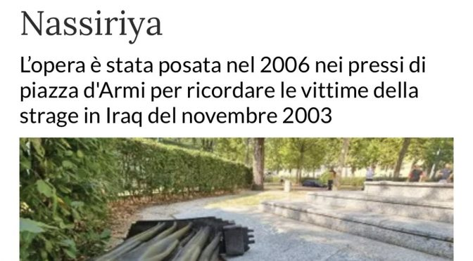 Distrutto monumento ai Caduti di Nassiriya
