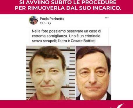 Licenziata per avere paragonato Draghi al terrorista rosso Battisti