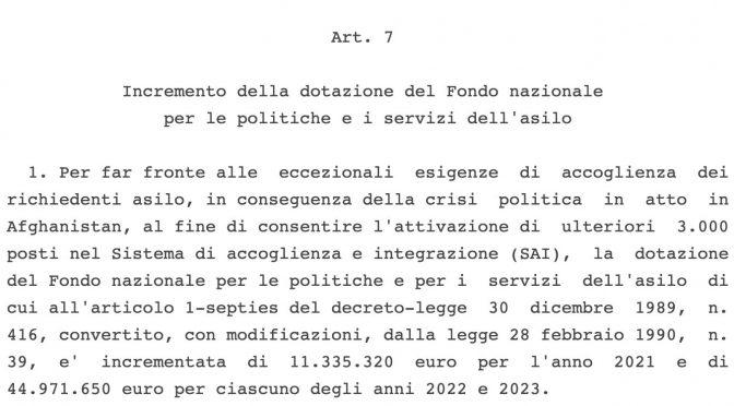 GOVERNO STANZIA ALTRI 100 MILIONI PER  I 5MILA AFGHANI EVACUATI IN ITALIA