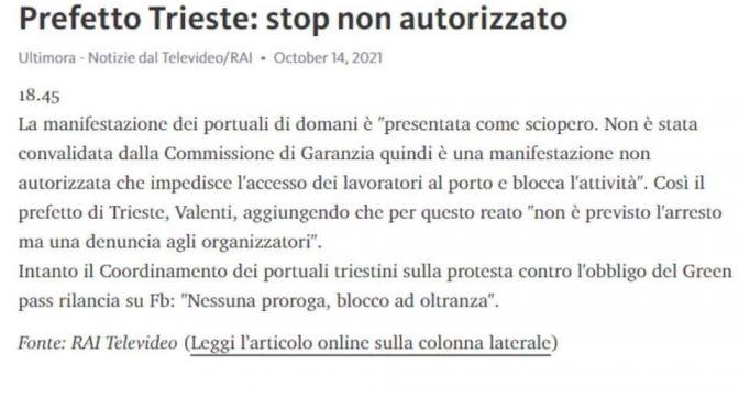 """RIVOLTA DILAGA, GOVERNO DICHIARA SCIOPERO PORTUALI ILLEGALE: """"ALLORA BLOCCO AD OLTRANZA"""""""