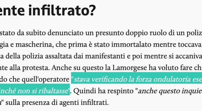 LAMORGESE AMMETTE PRESENZA INFILTRATI A MANIFESTAZIONE ROMA: SPIEGAZIONE DELIRANTE – VIDEO
