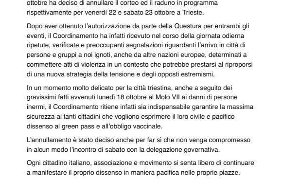 CENTOMILA PATRIOTI TRADITI: ANNULLATE MANIFESTAZIONI TRIESTE DOPO MINACCE GOVERNO